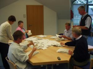 Wahlvorstand beim Auszählen der Bundestagswahl